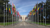 Rows of flags at UN entry in Geneva
