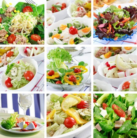 Photo for Different delicious vegetable and fruit salads - Royalty Free Image
