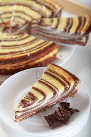 Photo pour Gâteau au fromage délicieux au chocolat - image libre de droit