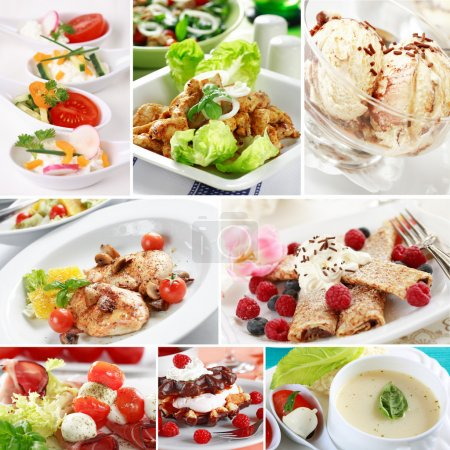 Photo for Mene collage - gourmet food menu from a restaurant - Royalty Free Image