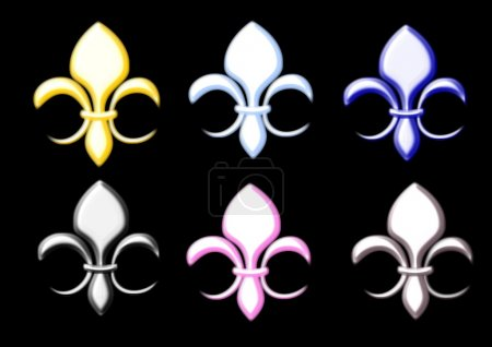 Fleur de lis in metal colours