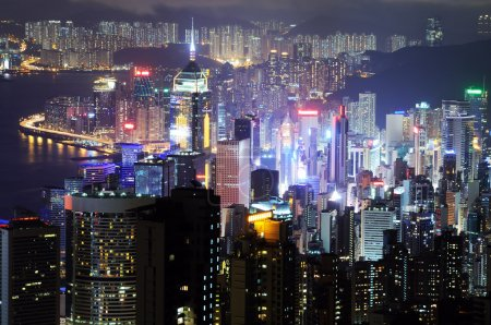 Photo for Hong Kong island photographed from Victoria's Peak at night - Royalty Free Image