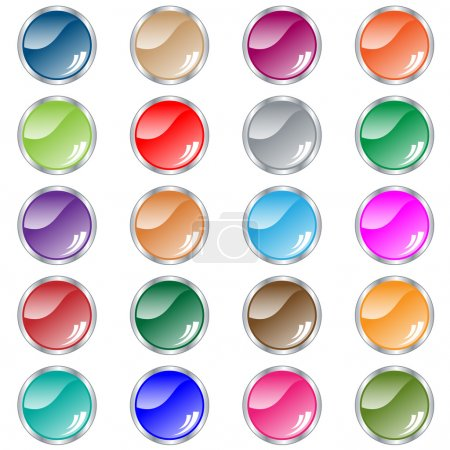 Round web buttons set in assorted colors