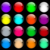 Web buttons Sixteen shiny round gel buttons in assorted colors Isolated on black