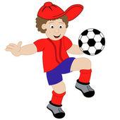 Cartoon junge Fußball spielen