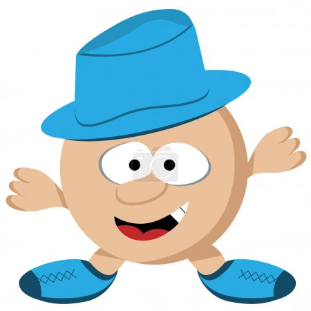 Illustration for Cartoon round guy with short legs and arms wearing a blue hat. Comical face. - Royalty Free Image