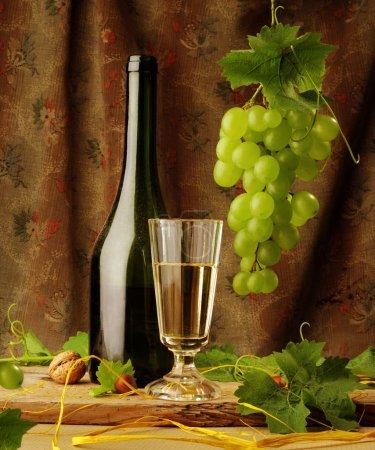 Vintage still life of white wine