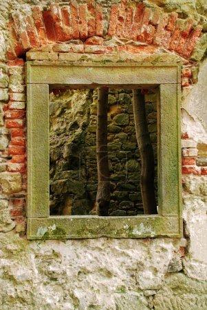 Window of ruined baroque church