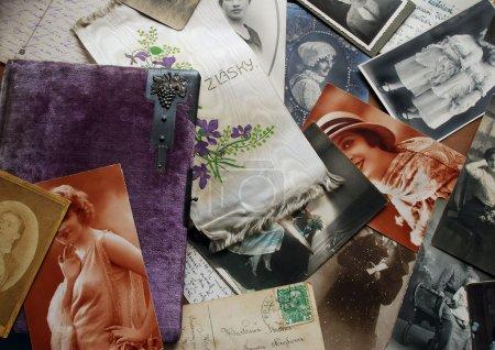Foto de Fondo de fotografías familiares y Letras - Imagen libre de derechos