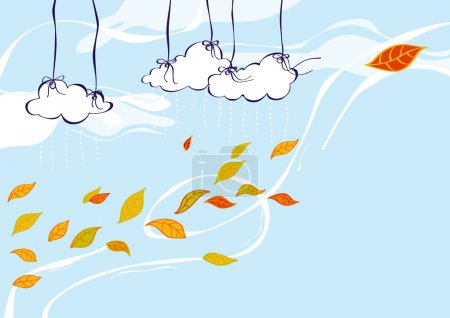 Illustration pour Automne Illustration du vent jouant avec les feuilles tombées - image libre de droit