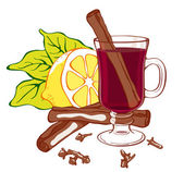 Mulled wine illustration Easy to edit Glass lemon cloves and cinnamon are all individually grouped on separate layers