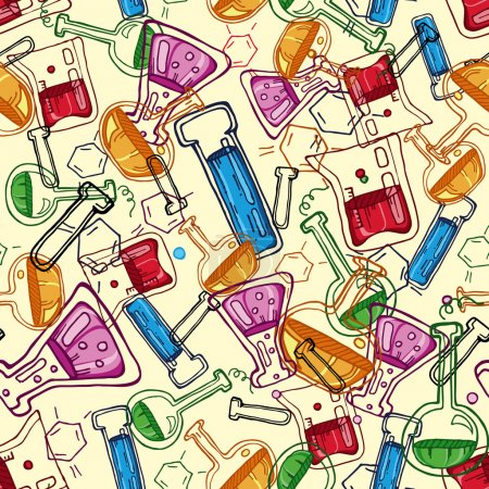 Illustration for Chemistry seamless background pattern - Royalty Free Image