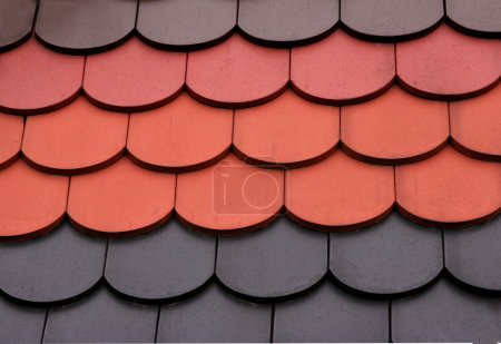 Color dropped roof tiles as background...