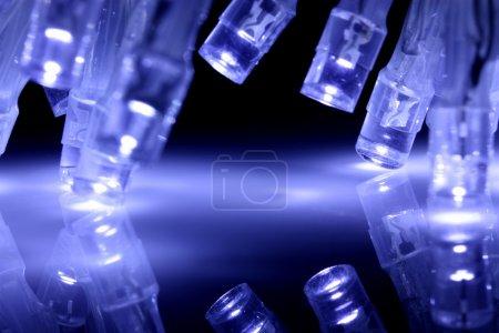 Cool blue LED lights closeup