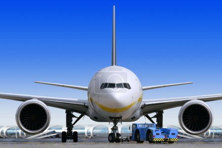 Photo for Big passenger airplane is waiting for departure in airport - Royalty Free Image