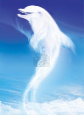 Photo pour Dauphin comme un nuage blanc sur le ciel bleu - image libre de droit