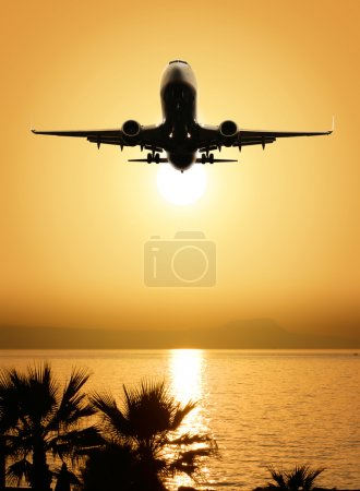 Photo for Beautiful sea view and plane on sunset background - Royalty Free Image