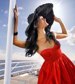 Beautiful woman in red