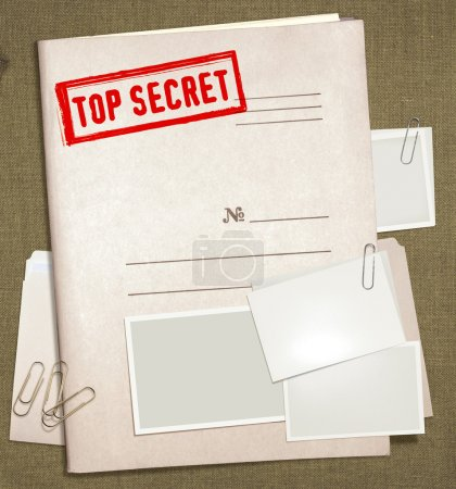 Dorsal view of military top secret folder with sta...