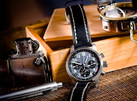 Chronograph, compas and map