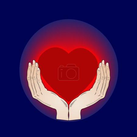 Shining heart in the hands - vector