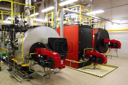 Photo for Gas boilers in gas boiler room for steam production - Royalty Free Image