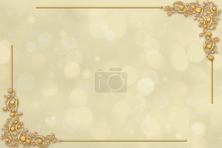 Photo pour Bordure de mariage décorative avec des éléments dorés, lumière et espace pour le texte - image libre de droit