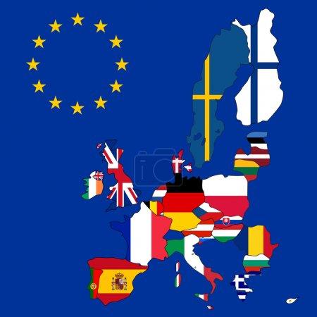 Illustration pour Carte vectorielle de l'Union européenne avec 27 drapeaux - image libre de droit
