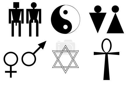 Illustration pour Symboles masculin et féminin - image libre de droit