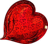 Red glass heart decorated with a pattern of roses
