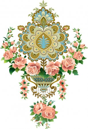 Illustration for The pattern of roses in retro style - Royalty Free Image