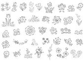 Set of flowers in black - elements for design - illustration