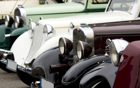 A line of classic cars
