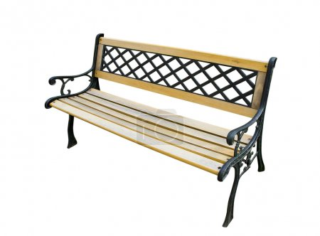 Old garden bench on white