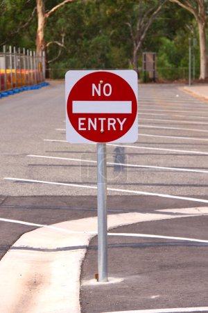 No Entry Sign in Outdoor Carpark