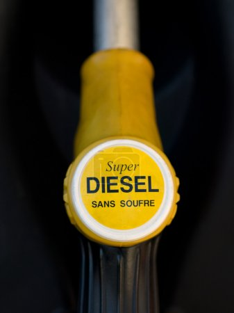 French yellow super diesel pump