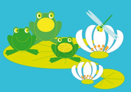Illustration for Three frogs troll songs sitting on a piece of lilies - Royalty Free Image