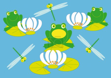 Illustration for Frogs troll songs on the lake among the lilies and dragonflies - Royalty Free Image