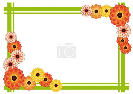 Frame of bright yellow and orange flowers and gree...