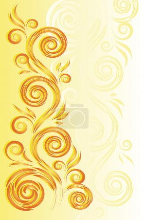 Illustration for Yellow background with a bright floral ornament in the style of folk painting - Royalty Free Image