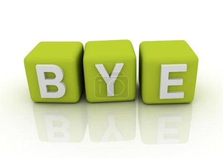 Photo pour Lettres Bye sur les cubes grren - image libre de droit