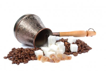 Coffee pot, Sugar and coffee grains
