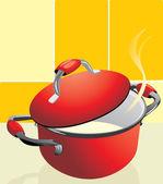 Red pan with porridge