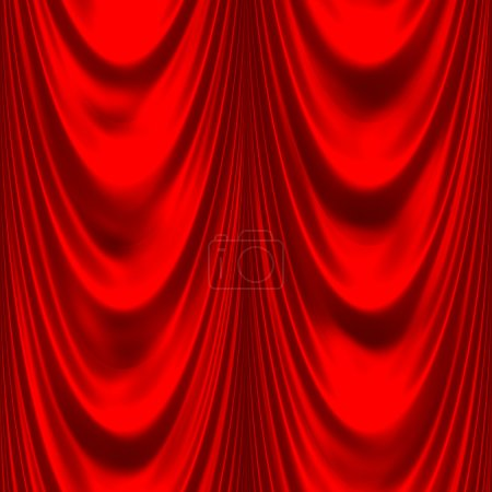 Photo pour Élégant satin ou soie, rideaux rouges, très lisse et parfaitement labourable - image libre de droit