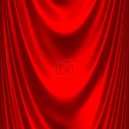 Sl red satin big drape