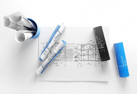 Photo for Architect plans are on white background - Royalty Free Image