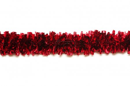 Photo for Red tinsel isolated on white background with place for text - Royalty Free Image