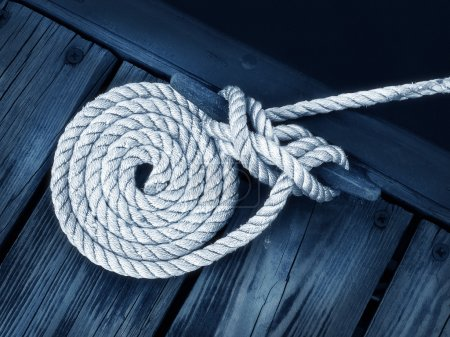 Artistic Boat Rope on Dock