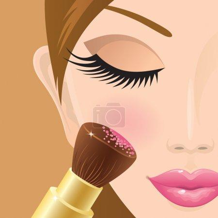 Illustration pour Gros plan d'une fille qui applique du rouge sur sa joue. Illustration vectorielle . - image libre de droit