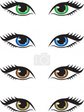 Illustration for Four pairs of eyes of different colors, green, blue, brown and grey. Vector illustration. - Royalty Free Image